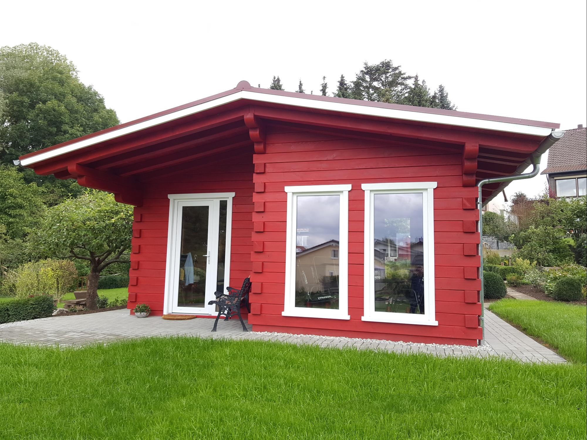 Gartenhaus, schwedenrot (1) weiße Akzente, Leimholz, große Fenster