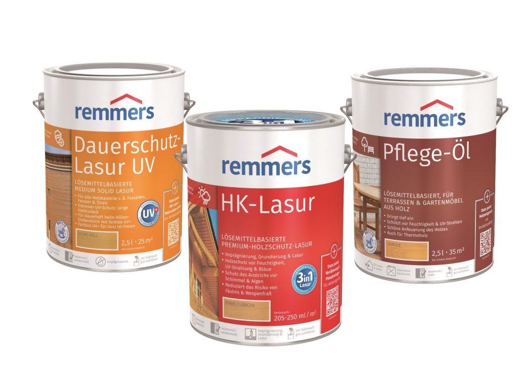 Holzschutz, Remmers Sortiment, Dauerschutz-Lasur, HK-Lasur, Pflege-Öl