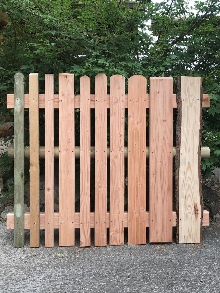 Zaun, Zaunlatten Muster, verschiedene Ausführungen